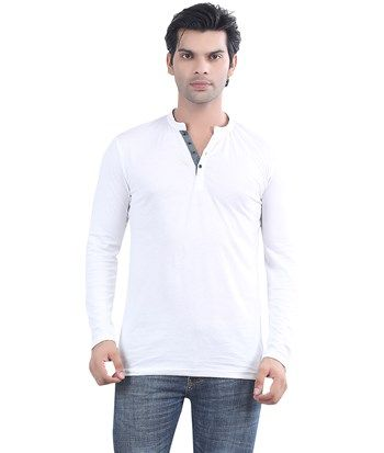 7b62b483c48 Sale, Maniac, #white Maniac Solid Henley #T-Shirt , , Henley-Neck ...