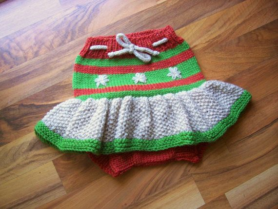 Hand Knitted Wool Cloth Diaper Cover Skirt Soaker Wool Nappy Cover