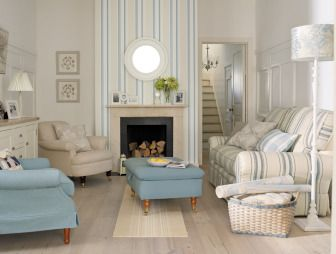 Photo Of Muted Blue Oatmeal Pastel Laura Ashley Living Room Lounge Sitting With Lighting Bare