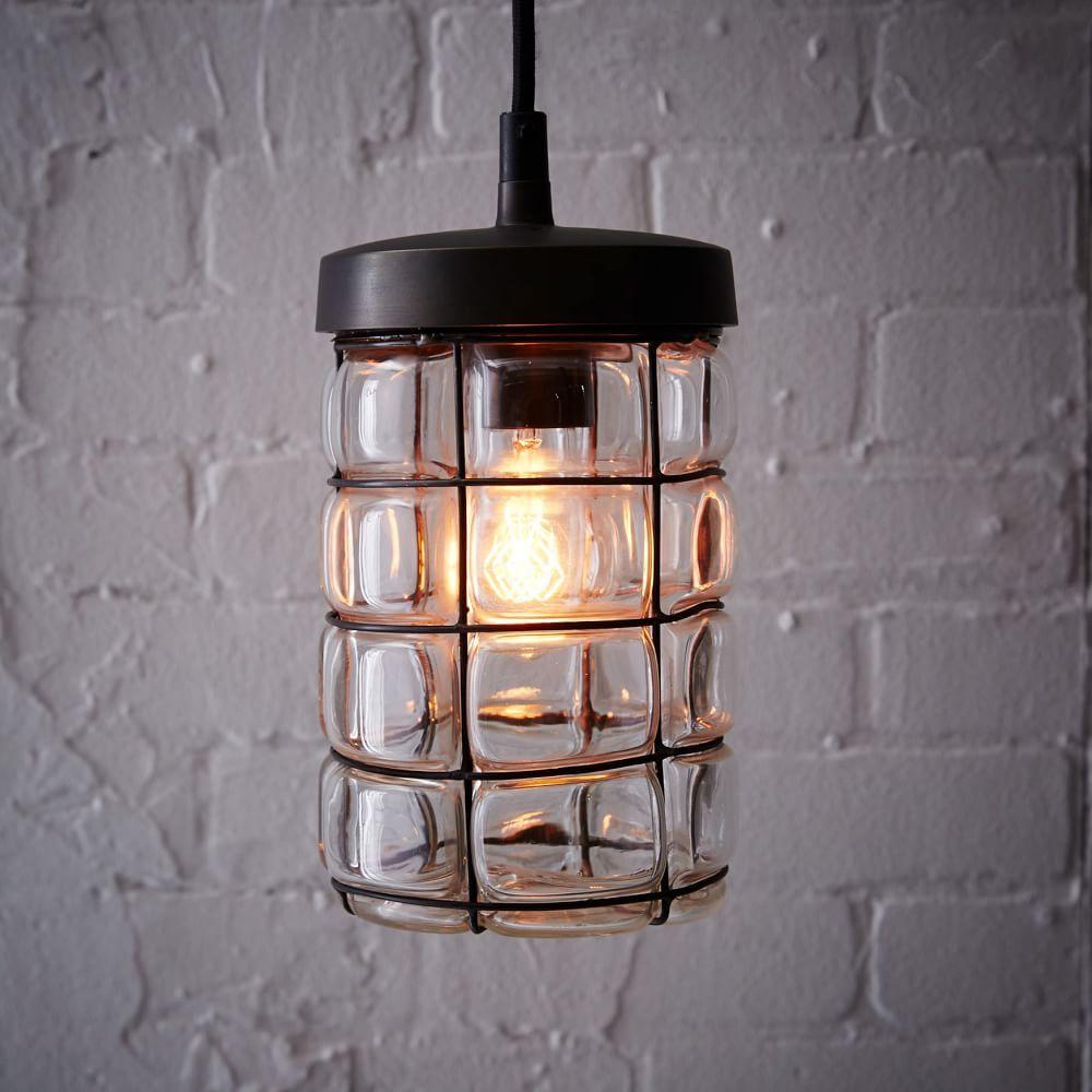 West Elm Lighting Sale: Gridded Glass Pendant