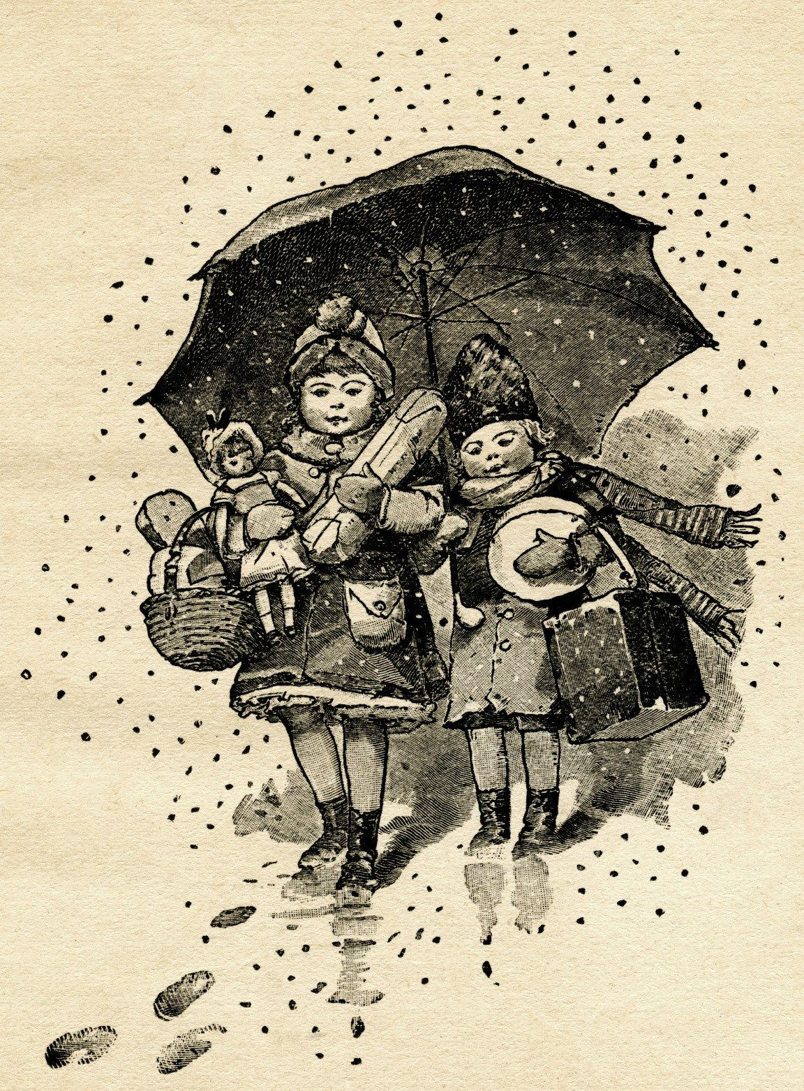Children Carry Gifts on Snowy Night