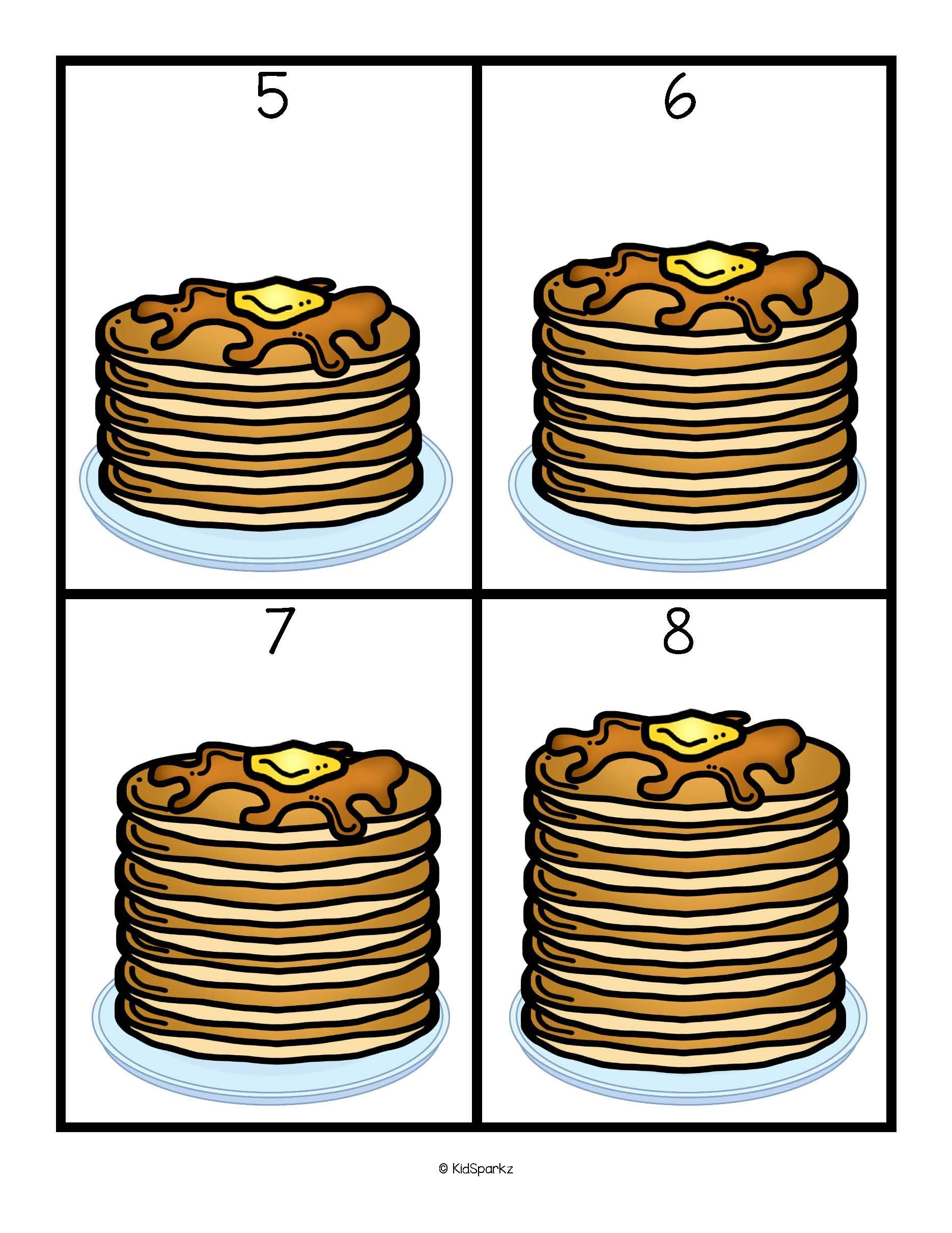 Pancakes Numbers Counting And Sequencing Cards Free