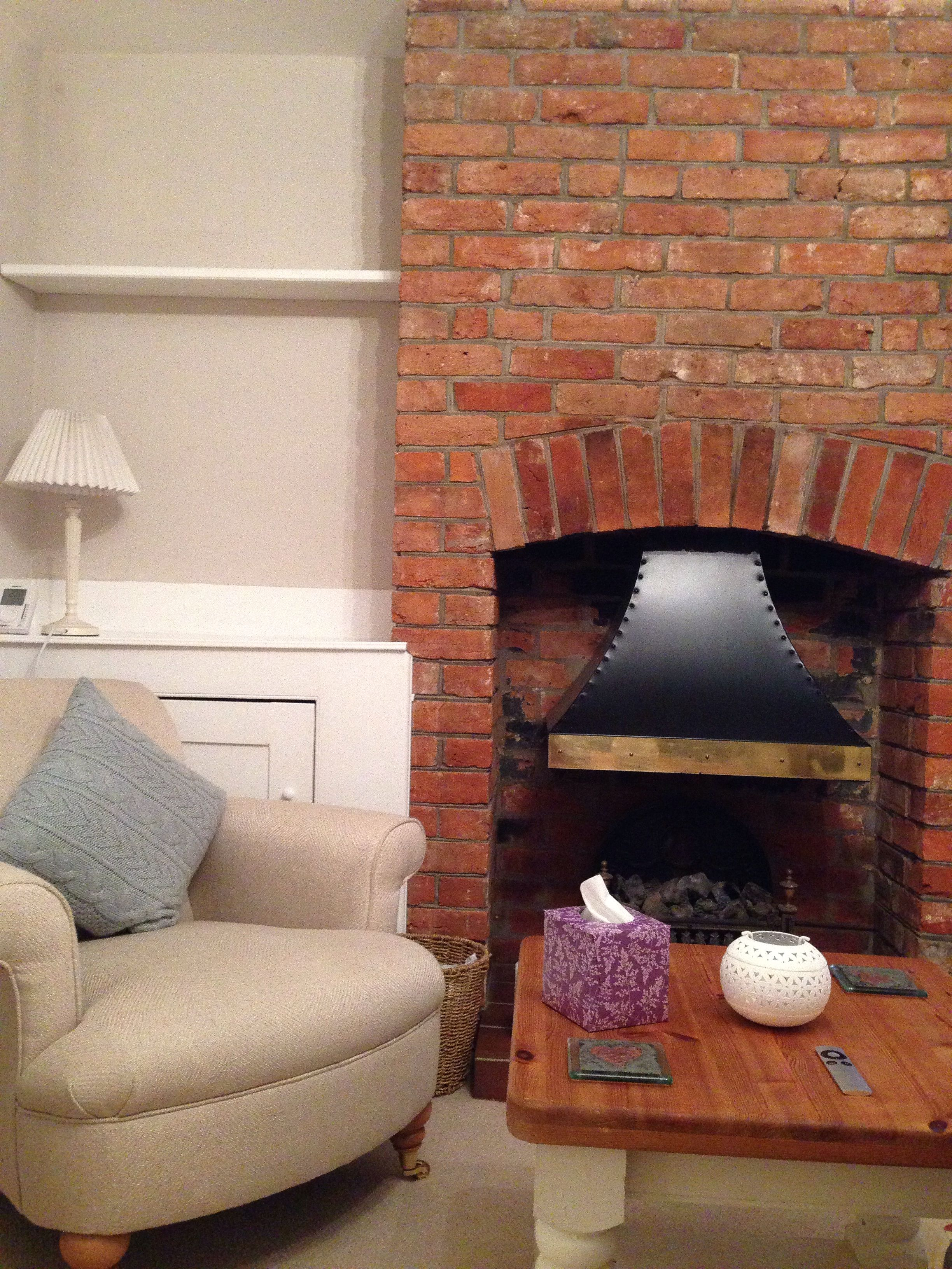 Dulux Gentle Fawn Paint, Laura Ashley Armchair And Lamp And Exposed  Victorian Brick Fireplace