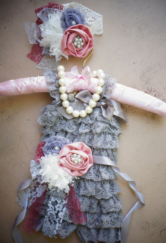 4pc Lace Romper Set,Vintage Sash,Girls Necklace,Petti Romper Set,Flower Girl,Wedding,Sash,Infant Outfit,1st Birthday Outfit,Vintage Headband