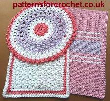 Free PDF crochet pattern for three cotton dishcloths http://www.patternsforcrochet.co.uk/pdf-booklets.html #patternsforcrochet #freecrochetpatterns