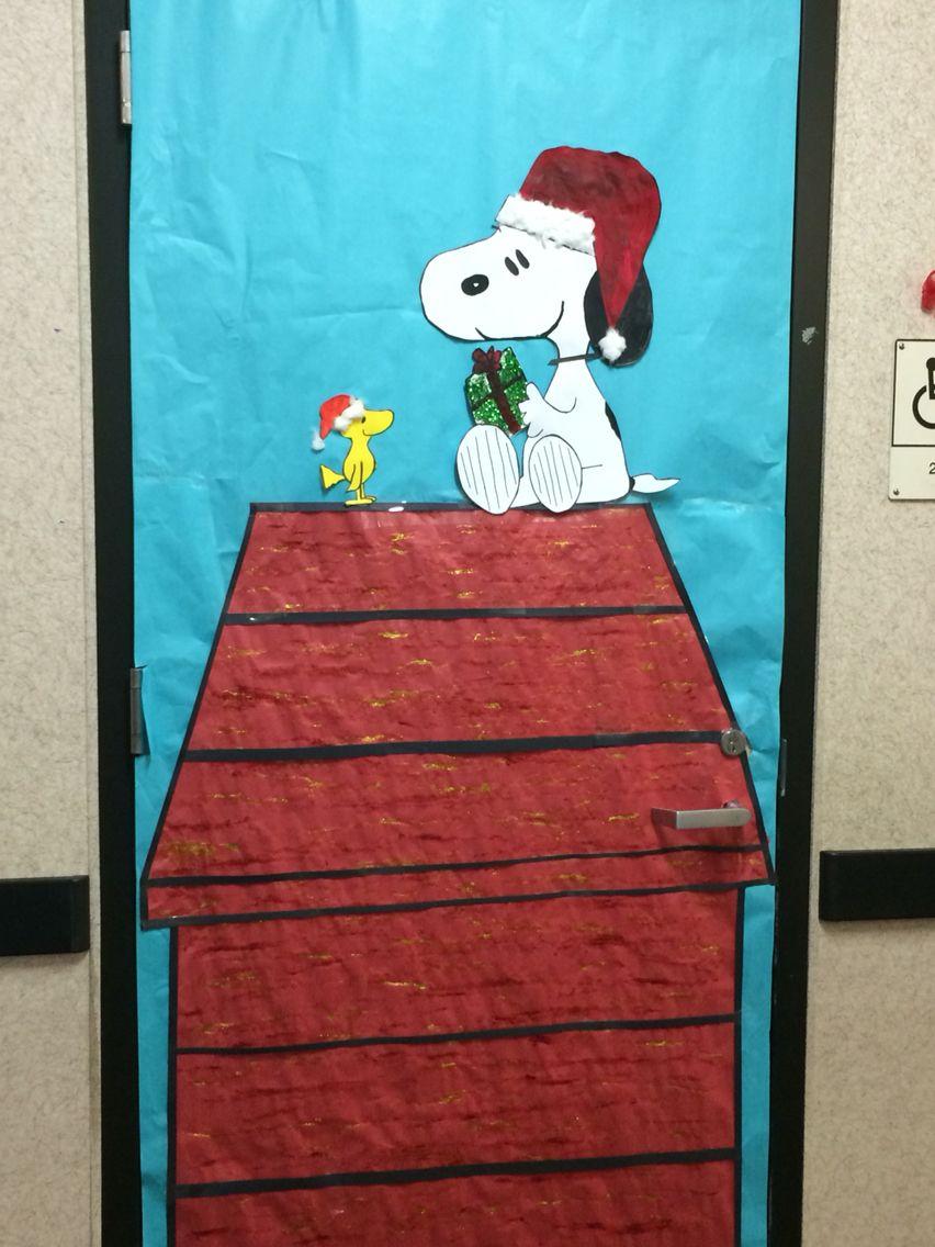 Snoopy and Woodstock celebrating Christmas on my classroom door.