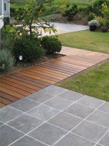 Ju0027aime bien ce mix bois et pavés (Sur les pavés, la terrasse - terrasse pave et bois