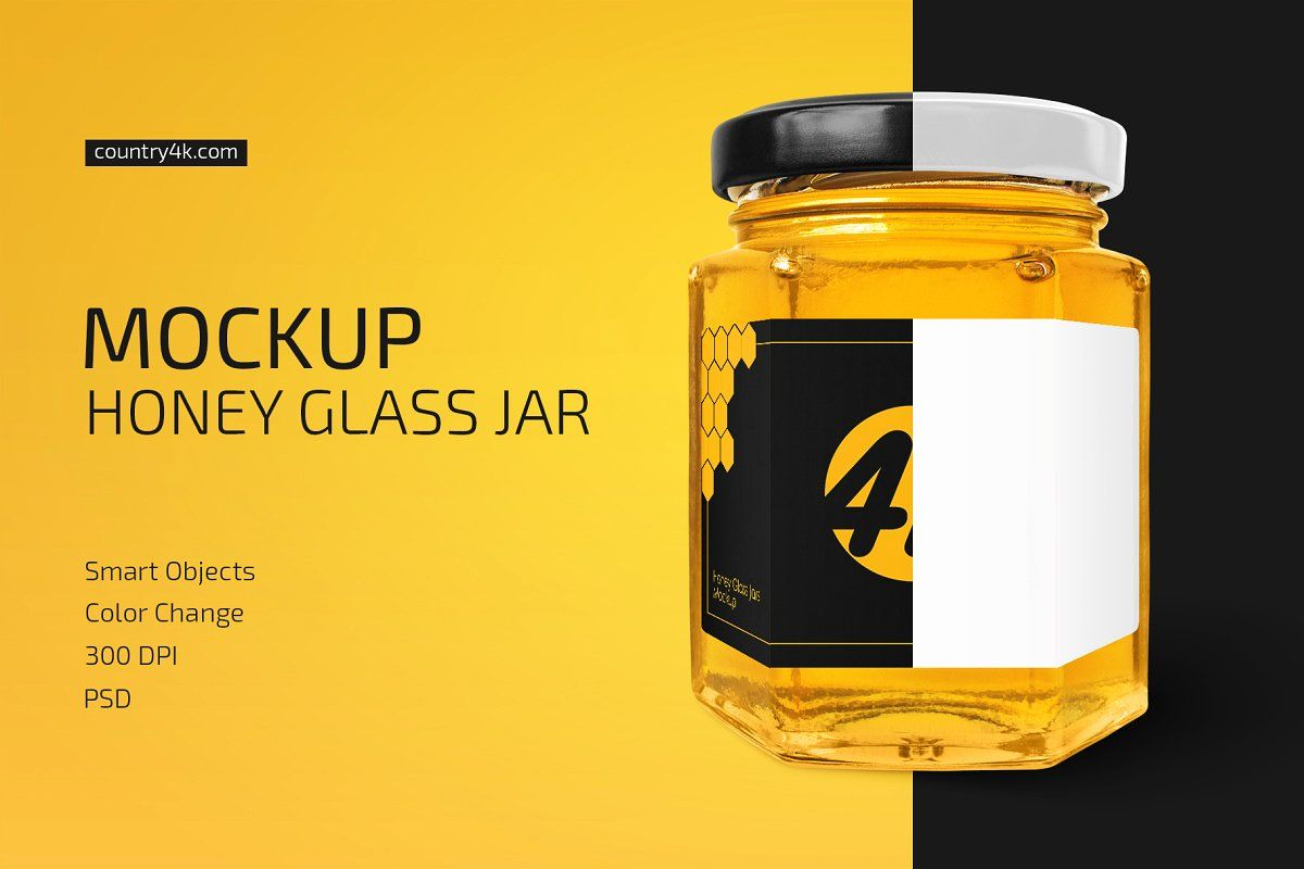 Download Honey Glass Jar Mockup In 2020 Glass Jars Jar Honey Jar PSD Mockup Templates