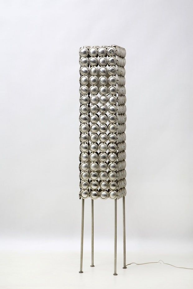 ZANINI DE ZANINE: MAISON&OBJET AMERICAS DESIGNER OF THE YEAR  -  One of Zanini's earliest works (early 2000s) – a lamp crafted from 500 cans. He laments it was not much of a success. Photo: André Nazareth.