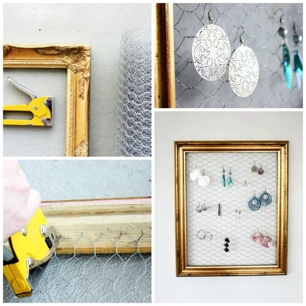 Earring rack from chicken wire and a picture frame! Genius, I say ...