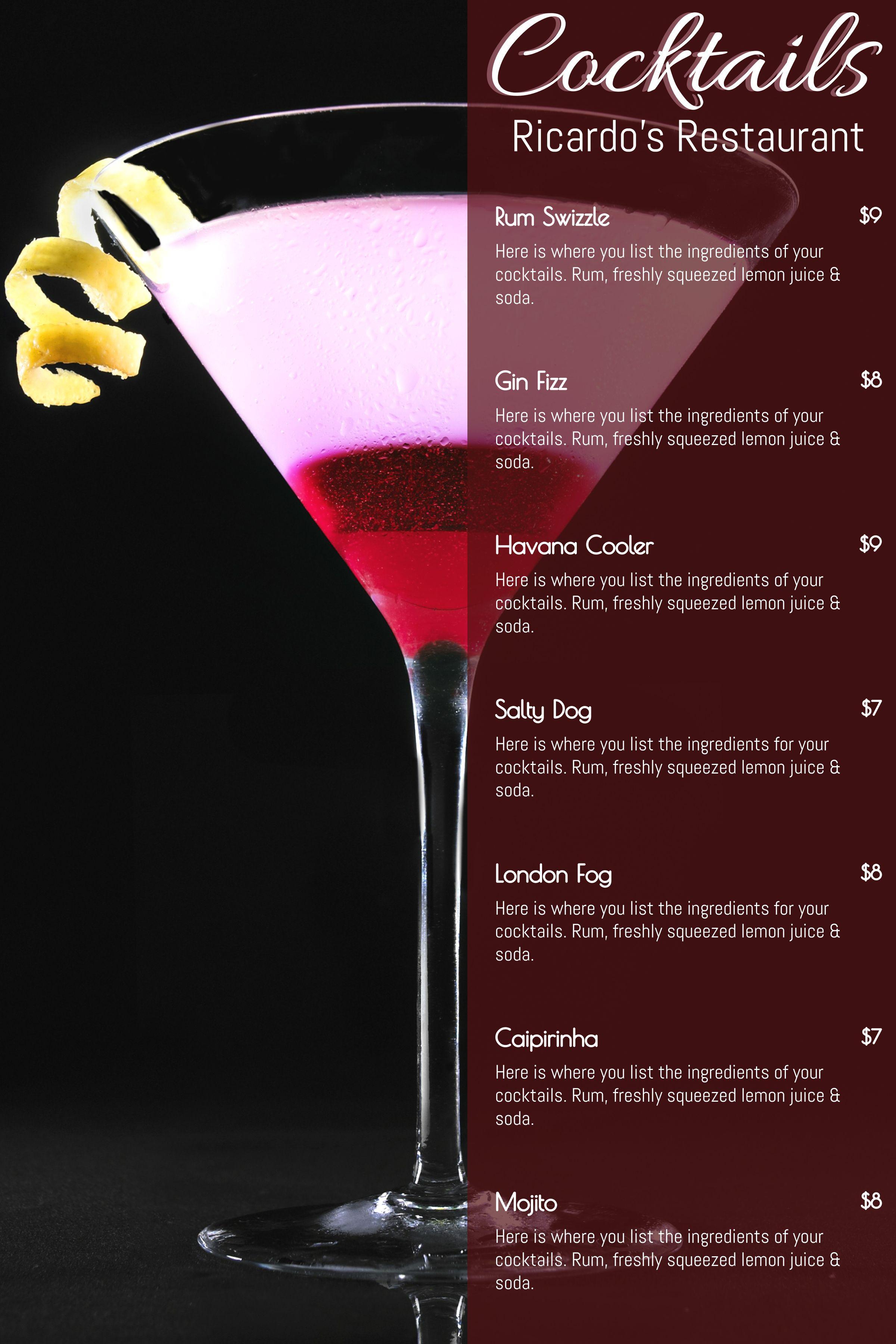 Printable Cocktail Menu Template Design Red Menu Template Cocktail Menu Drink Menu