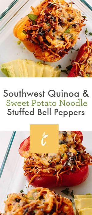 Southwest Quinoa and Spiralized Sweet Potato Stuffed Bell Peppers #stuffedbellpeppers