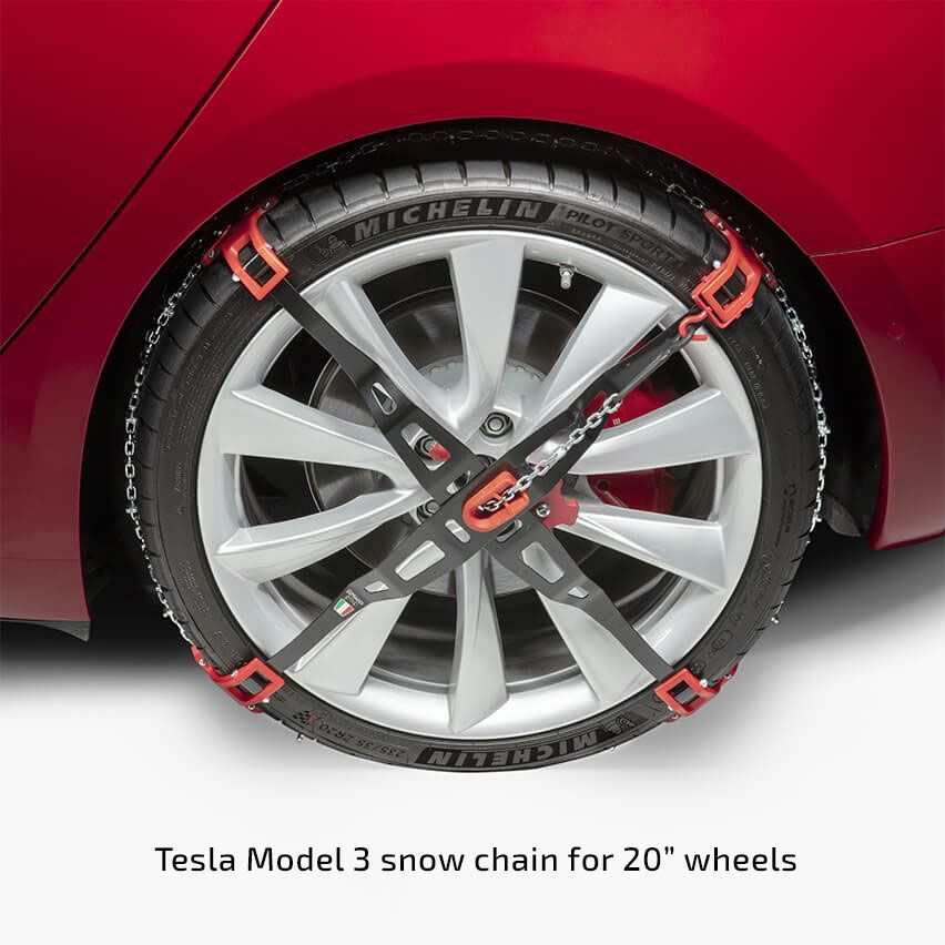 Cruise The Snowy Paths With The Tesla Model 3 'snow Chains
