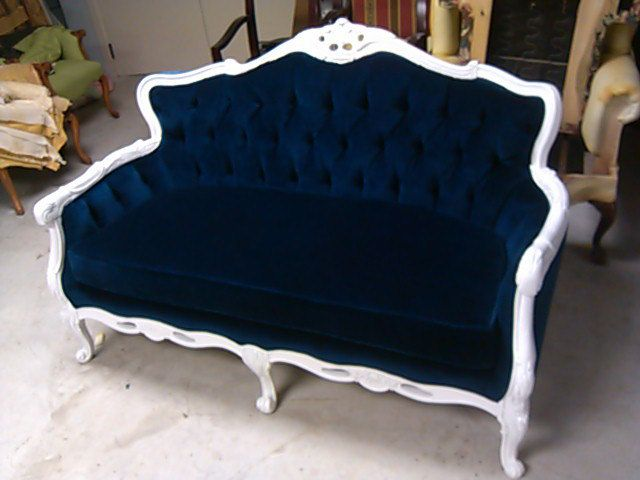 New Items similar to Blue Velvet Loveseat Navy Blue White Frame Sofa Settee Couch on Etsy Photo - Model Of blue sofa set HD