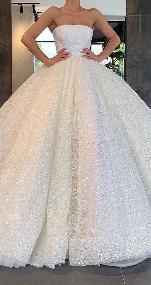 Glitter Strapless Ball Gown Wedding Dresses Sparkly Bridal Gown Ow673 Ball Gowns Wedding Ball Gown Wedding Dress Sparkly Wedding Dress