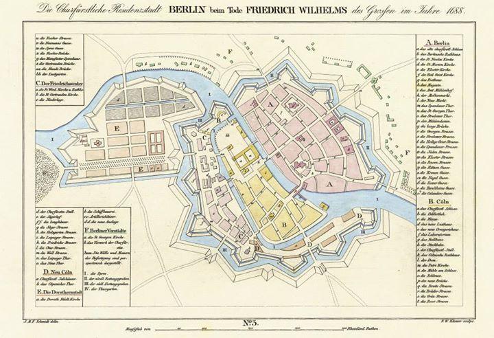 Berlin Map from 1688, from: Historischer Atlas von Berlin in VI Grundrissen nach gleichem Maßstabe von 1415 bis 1800. Gezeichnet von J.M.F. Schmidt. Berlin: Simon Schropp und Kamp 1835.