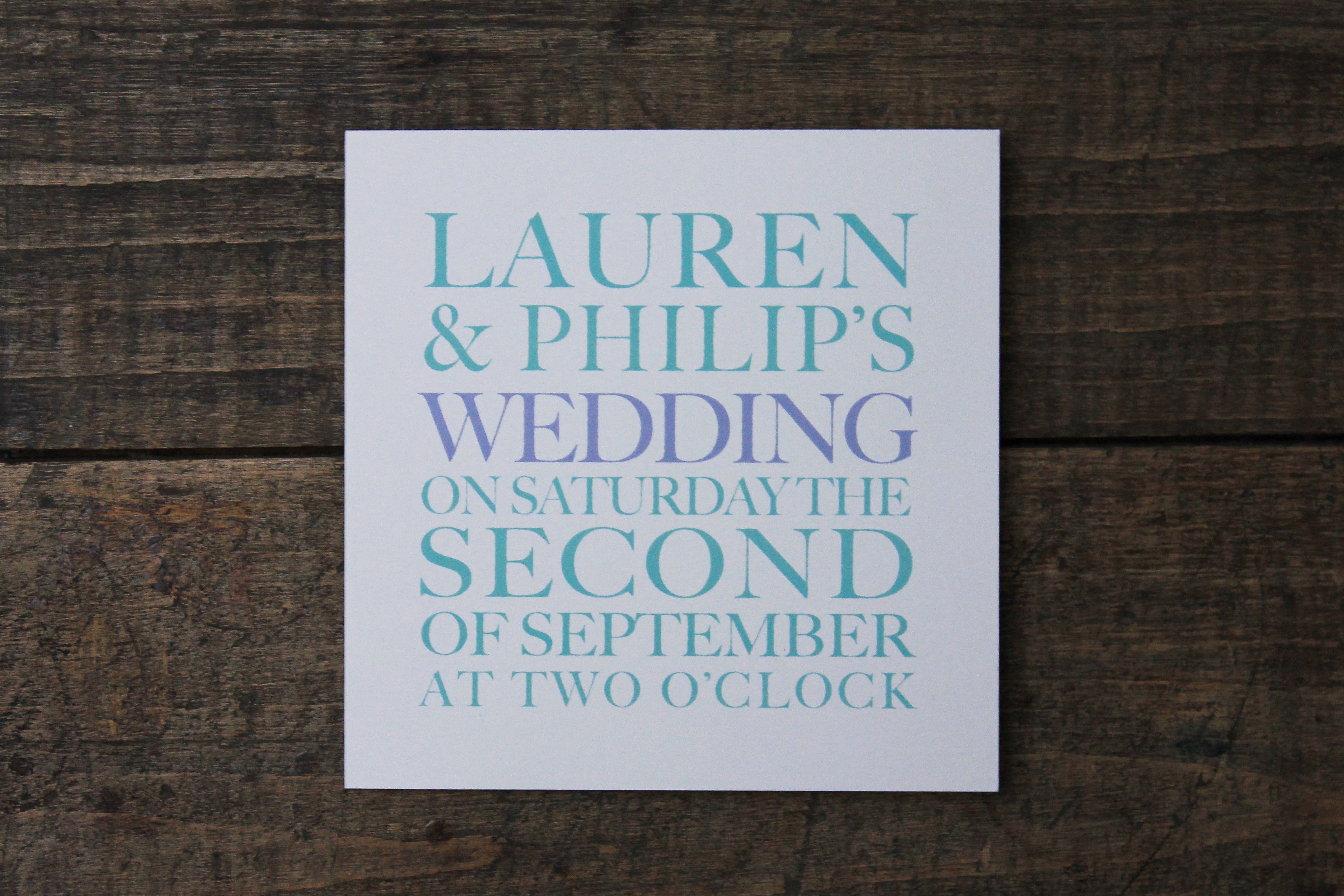 Mint and lilac simple font wedding invitation by The Pattern ...