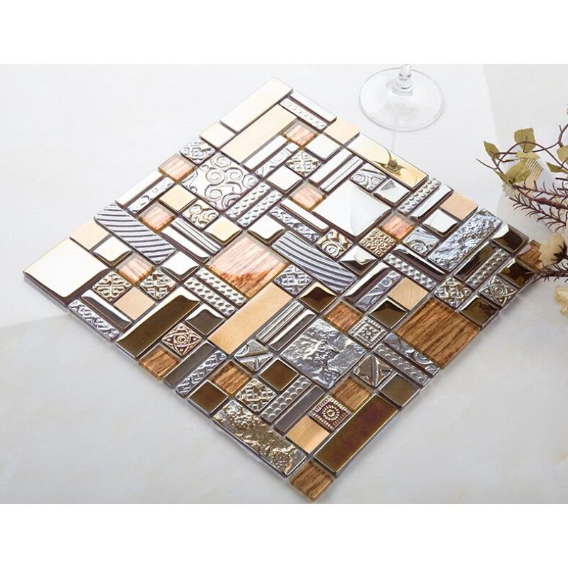 Crystal Gl Mosaic Kitchen Tile Copper Aluminum Tiles Wall Backsplash Bathroom Metal Decor Kljh401