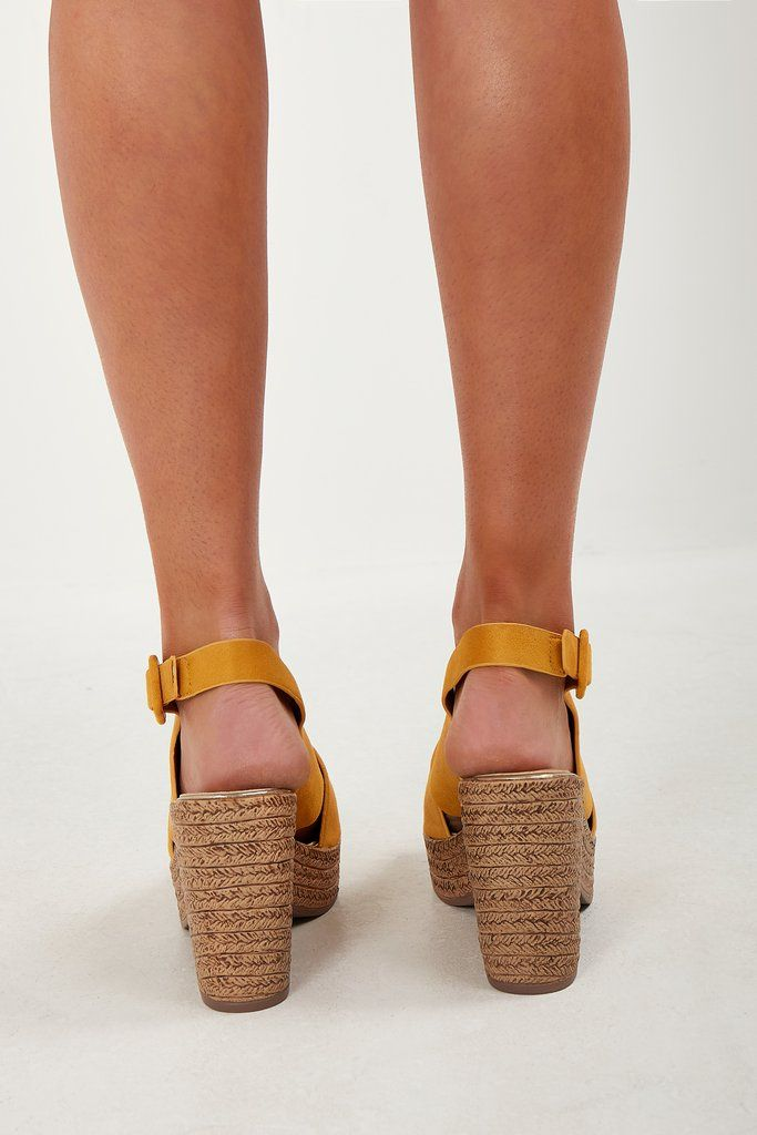 ac43122210 Tora Yellow Cork Heel Sandals in 2019 | Stuff to buy | Sandals ...