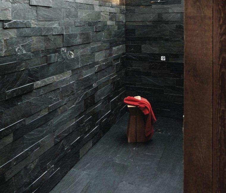 Salle de bain ardoise  naturelle et chic Interiors - salle de bain ardoise