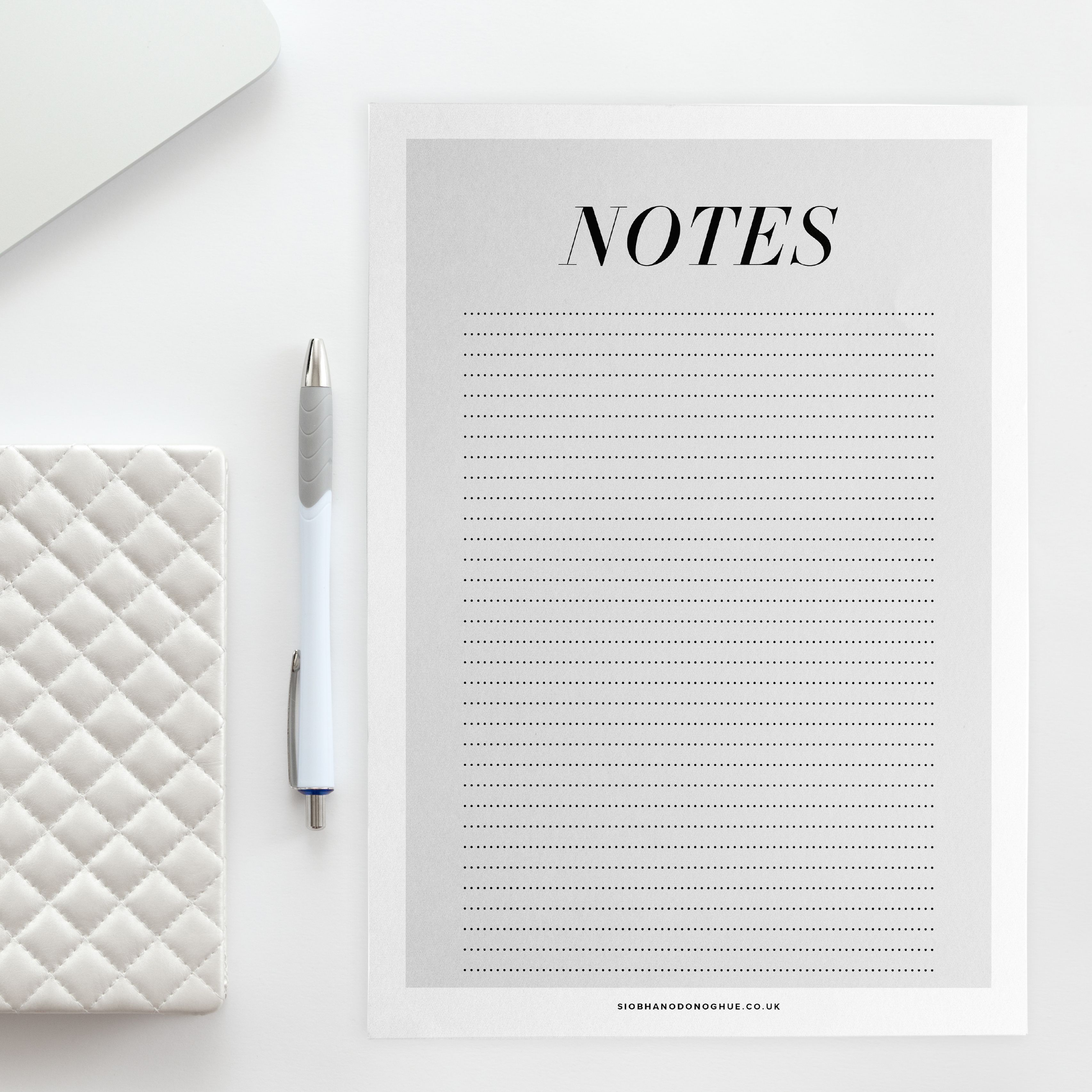 Notes pages free to download as part of the fashion work planner set