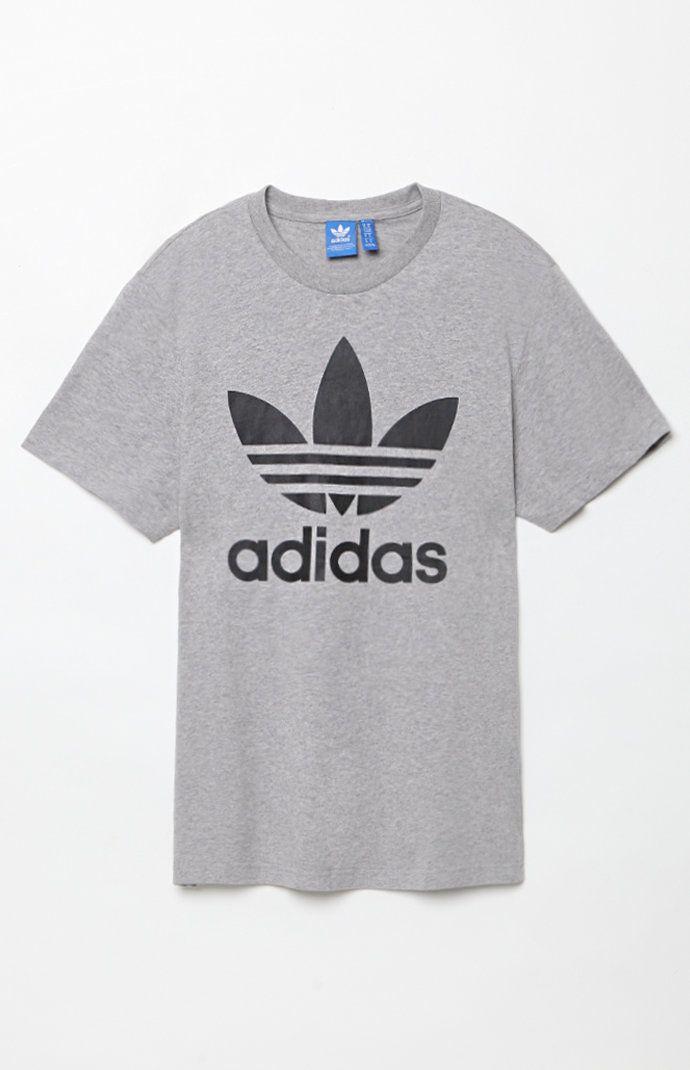 4ec71a04ff090 adidas Originals Trefoil Grey Heather and Black T-Shirt at PacSun.com