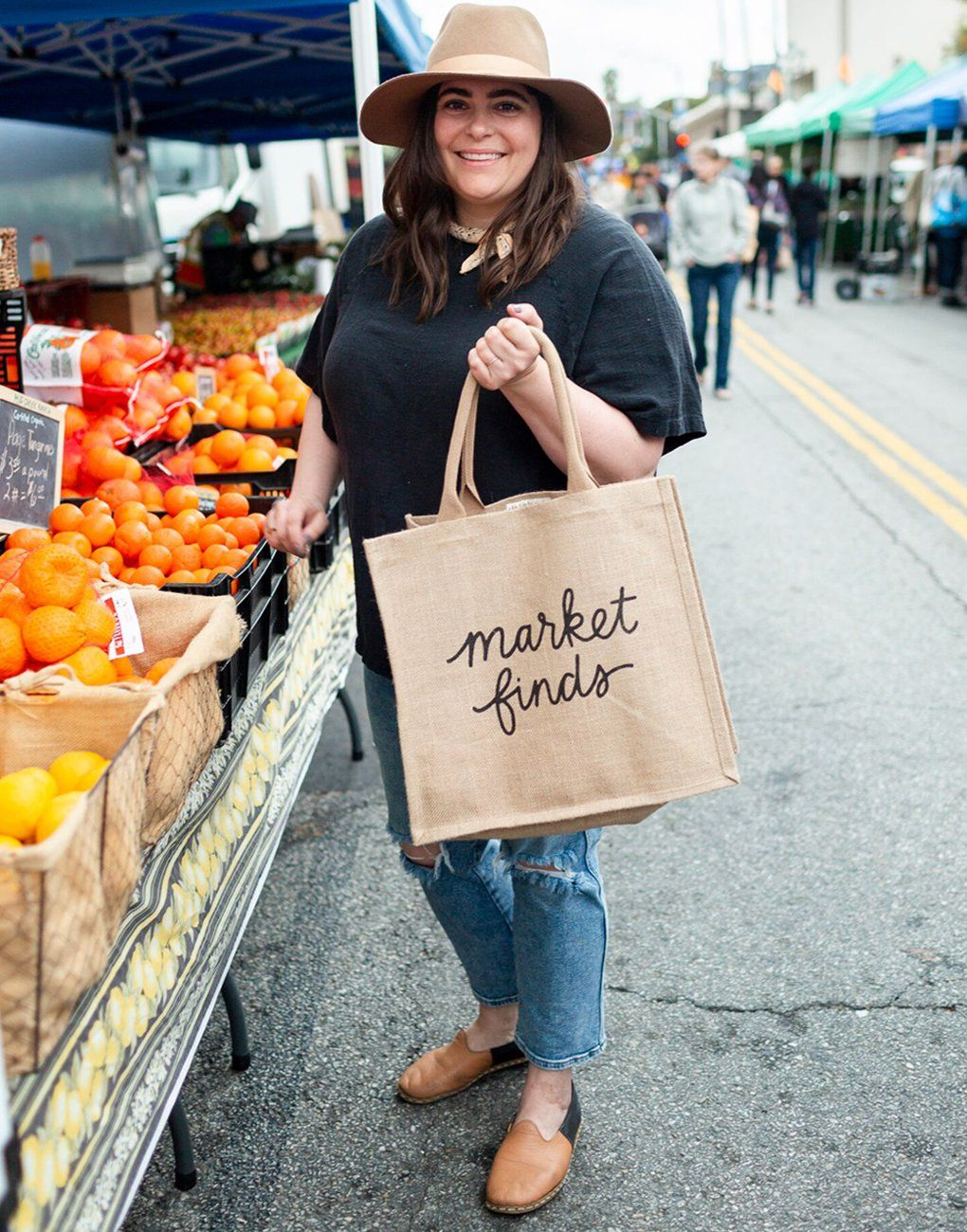 Shop Local Freshly Picked Produce Farmers Market Shopping Fruit Canvas Tote Bag Vegetable