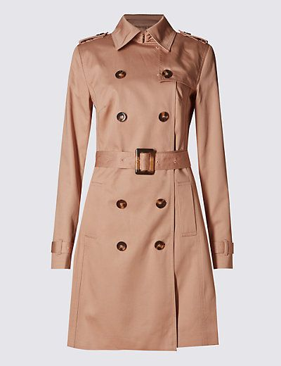 Pure Cotton Belted Trench Coat with Stormwear™ | M&S | Ruhák