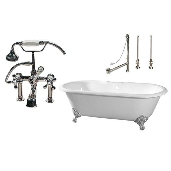 Cambridge Cast Iron Double Ended Clawfoot Tub Package Rim Faucet