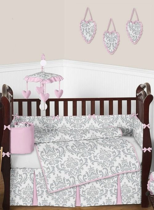 Elizabeth Pink And Gray Damask Baby Bedding By Sweet Jojo Designs Baby Bed Crib Bedding Baby Girl Room