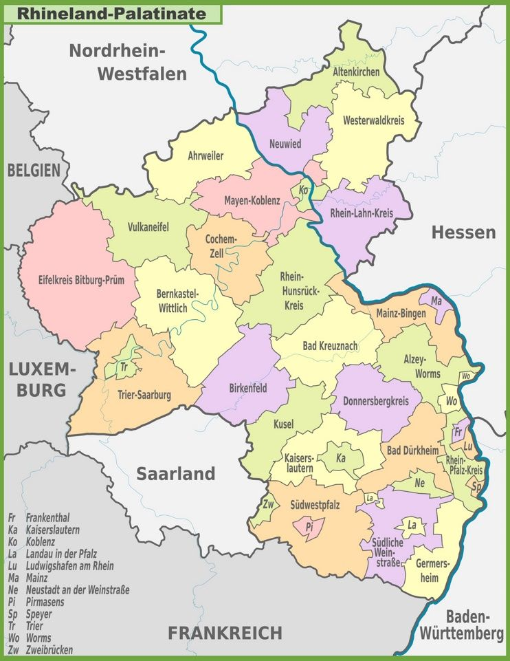 Map Of Zell Germany.Administrative Divisions Map Of Rhineland Palatinate History6