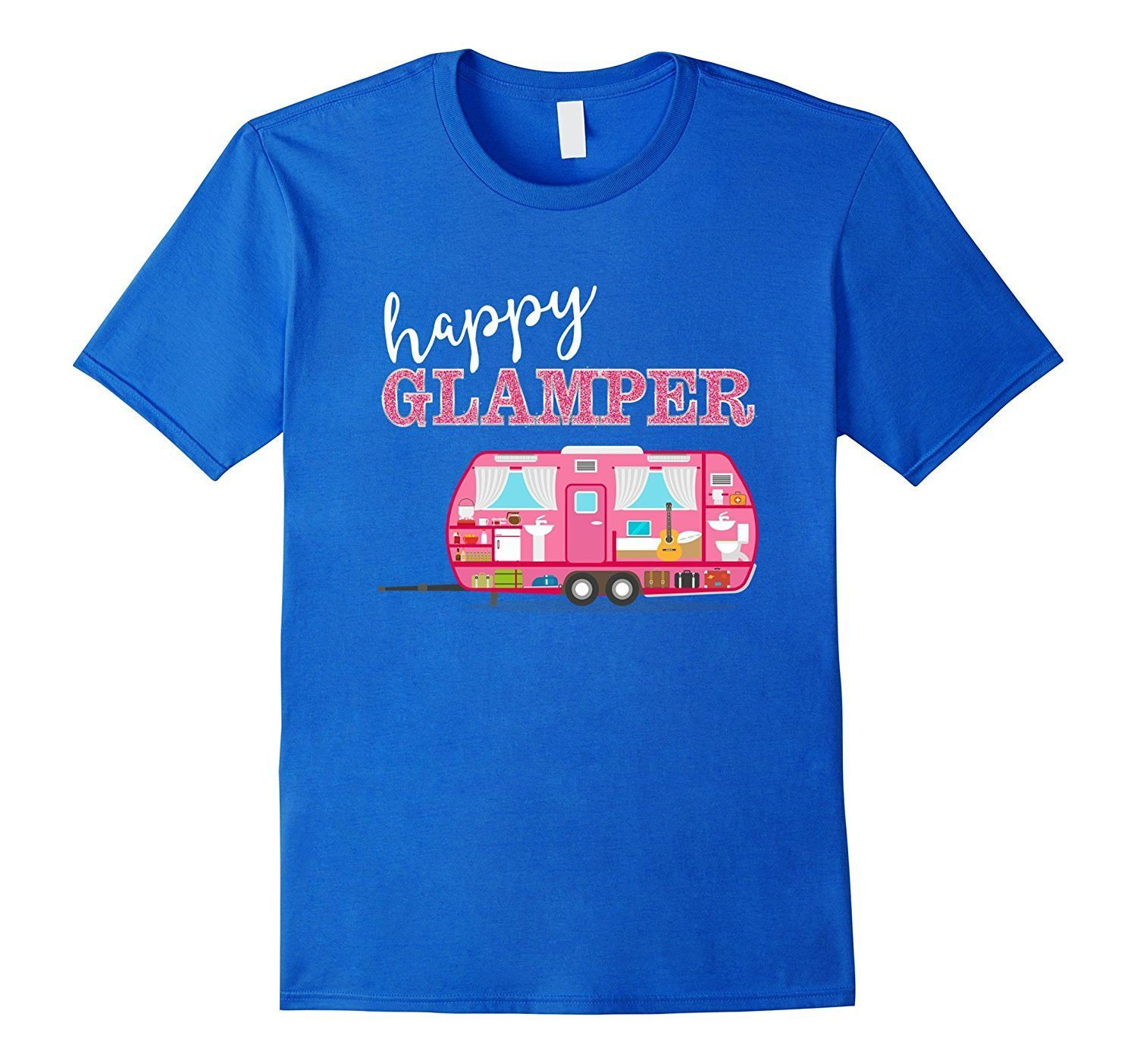 Happy Glamper T Shirt Pink Rv Camper Funny Camping Girl Tee Rv