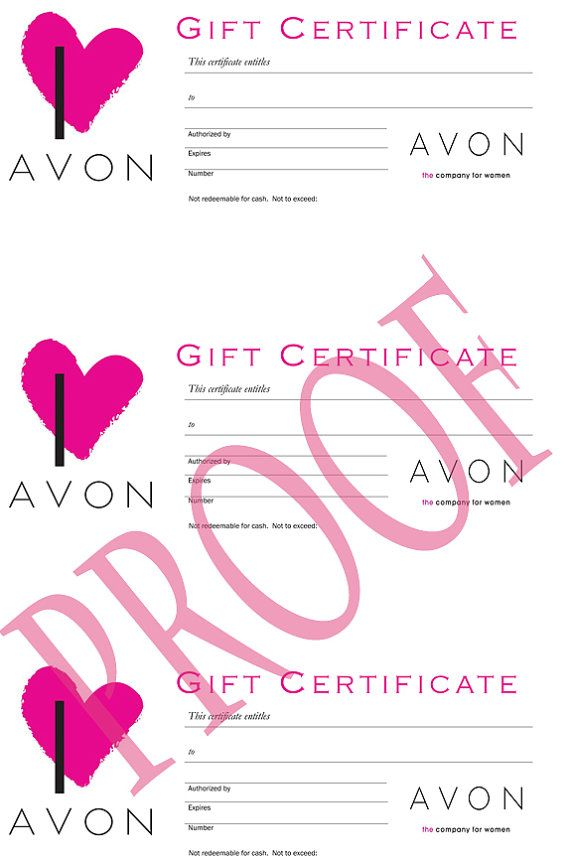 AVON Gift Certificates Digital Download by LabelsForYou on Etsy