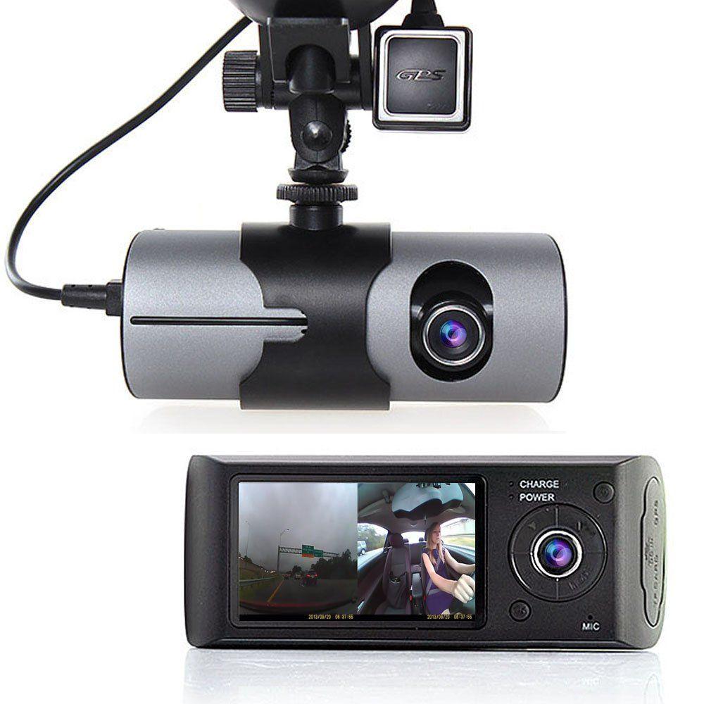 Dual Lens HD Car DVR Camera Dash Cam Video Recorder G-Sensor GPS w// Night Vision