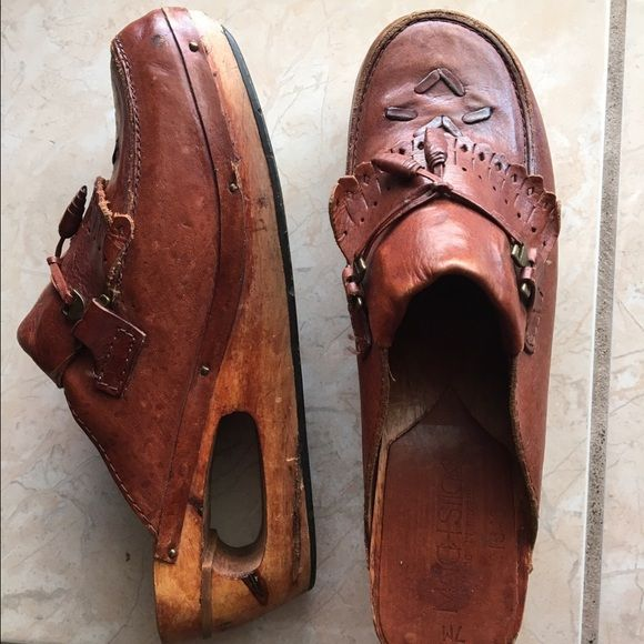 Vintage Clogs Vintage Wooden clogs 100% upper leather . Made in Brazil code 81540 .Preloved surfs from use . Please note the last picture the leather gave a little on the left pair- this is an easy fix. MATCHSTICKS Shoes Mules & Clogs