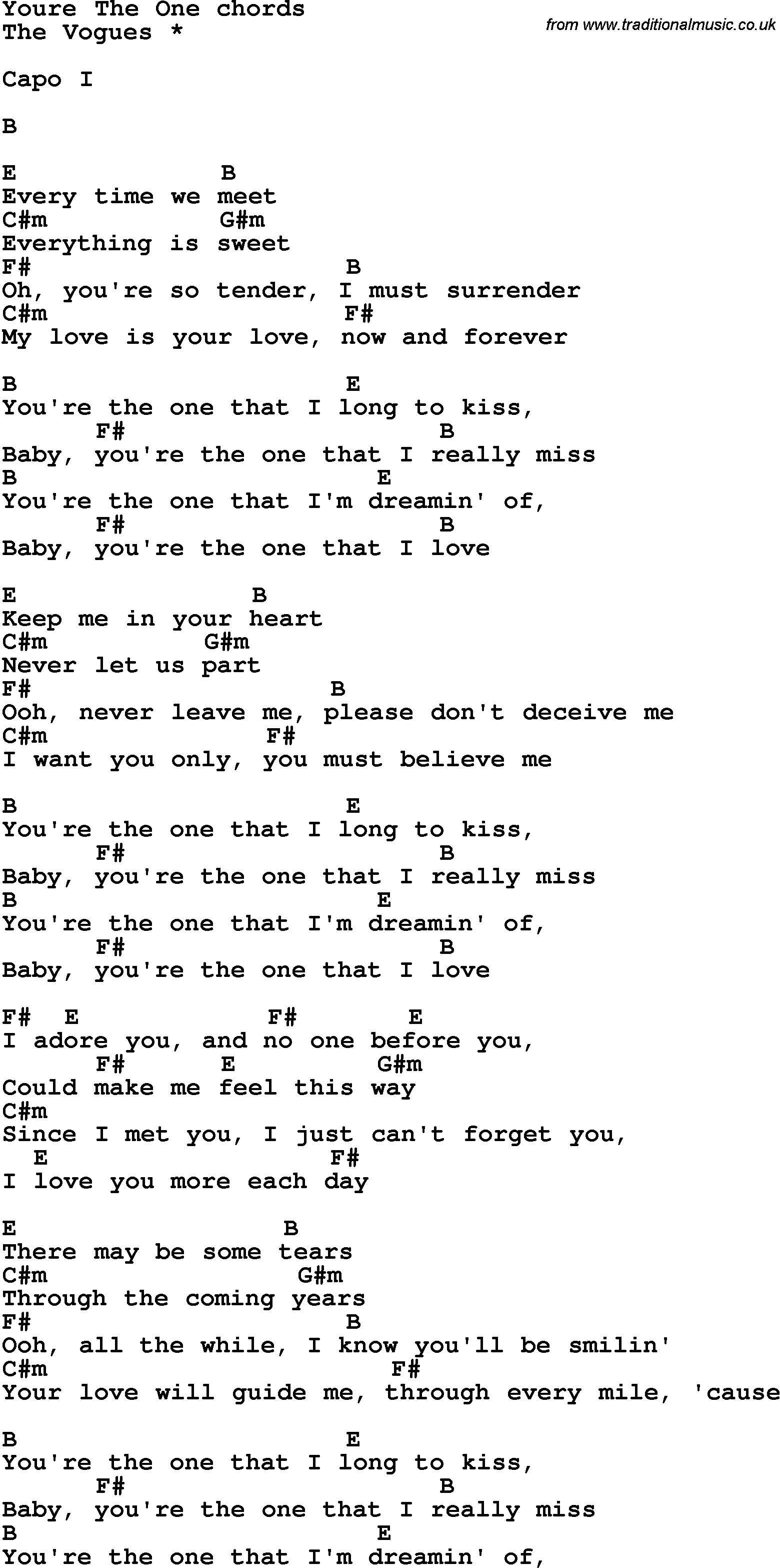 Song Lyrics With Guitar Chords For Youre The One The Vogues If