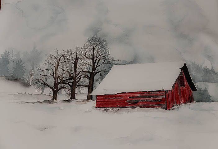 Large Watercolor Painting Of Red Barn In Snow Snow Scene Etsy Barn Painting Winter Painting Winter Watercolor