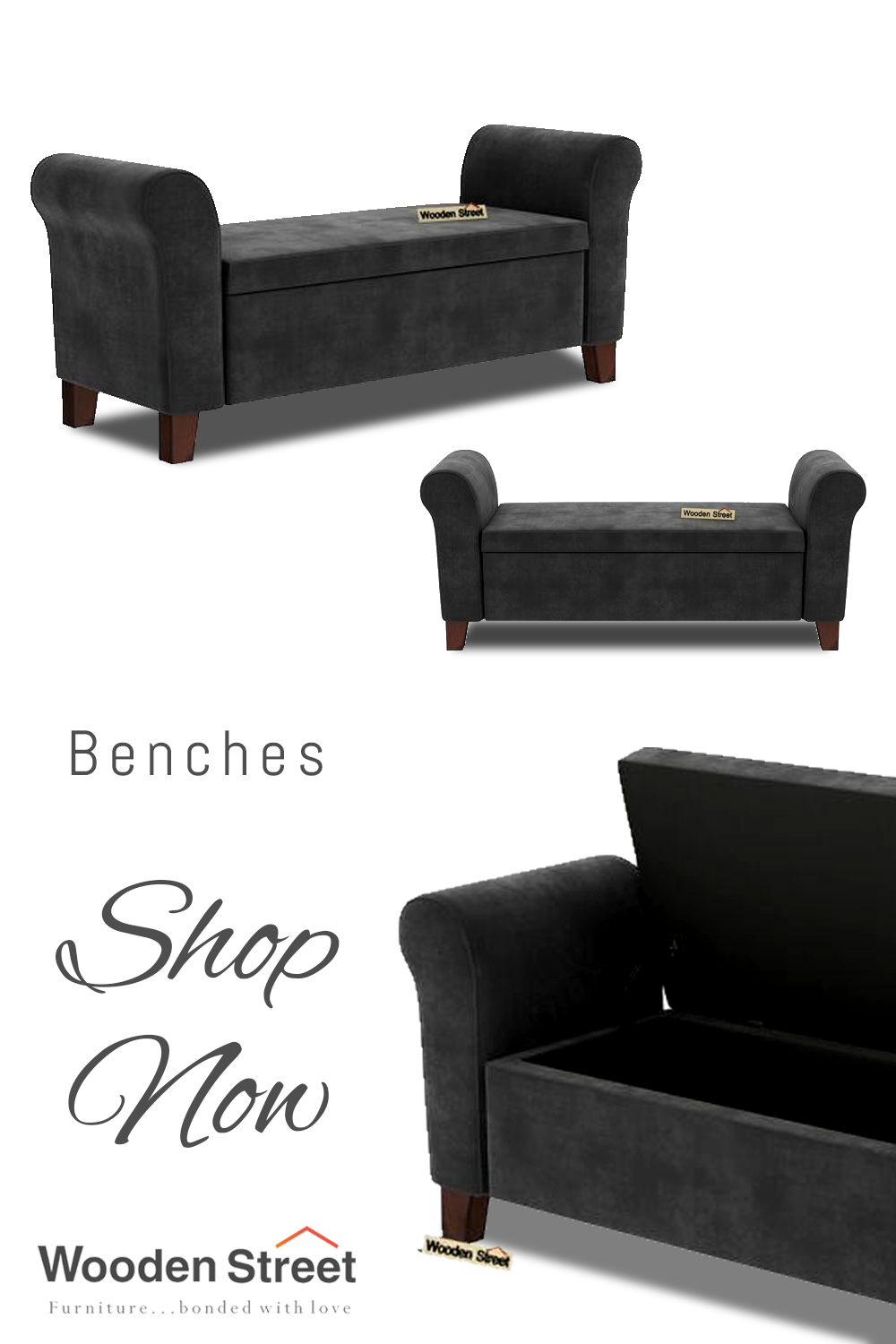 Buy Jade Bench With Storage Graphite Grey Online In India Wooden Street Wooden Street Bench Online Bench With Storage