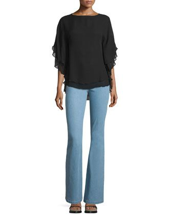 Half-Sleeve Layered Top & Mid-Rise Flare-Leg Contour Jeans by Michael Kors at Neiman Marcus.