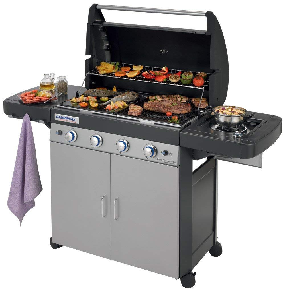 Campingaz Gas Bbq 4 Series Classic Ls Plus 4 1 Burner Stainless Steel Gas Barbecue Large Gas Grill With Side Bu Gas Barbecue Grill Gas Bbq Campingaz Barbecue
