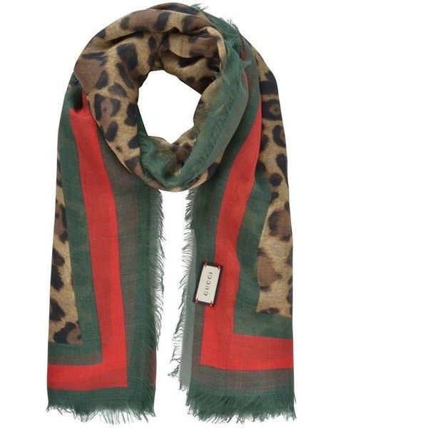 4bb33f8f667 Gucci Leopard Web Trim Scarf ( 280) ❤ liked on Polyvore featuring  accessories
