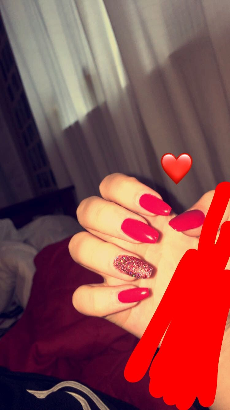 Red Acrylic Coffin Glitter Nails Red Nails Glitter Glitter Nails Acrylic Nails Tumblr