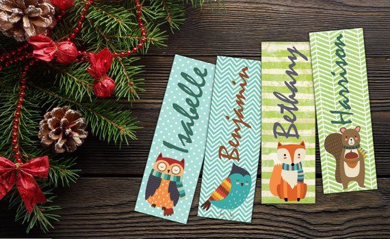 Set of 4 personalized bookmarks/Custom Printable Bookmarks/Cute