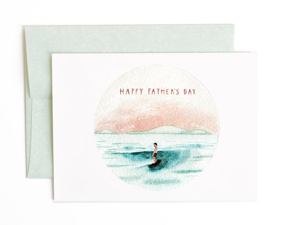 Father's Day Greeting Card Surfing Ocean Beach by BethanyEdenArt  #etsy #fathersday #greetingcard #watercolor #surfing #ocean