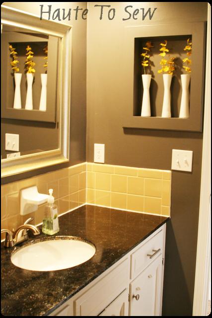 Bathroom Makeover; Yellow & Gray Color Scheme - using the original tiles