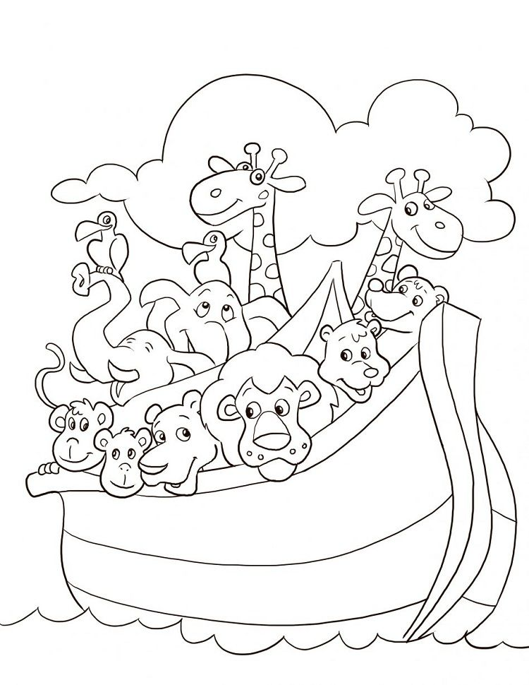 Noah S Ark Animal Coloring Pages For Preschoolers Bible Coloring Pages Sunday School Coloring Pages Christian Coloring