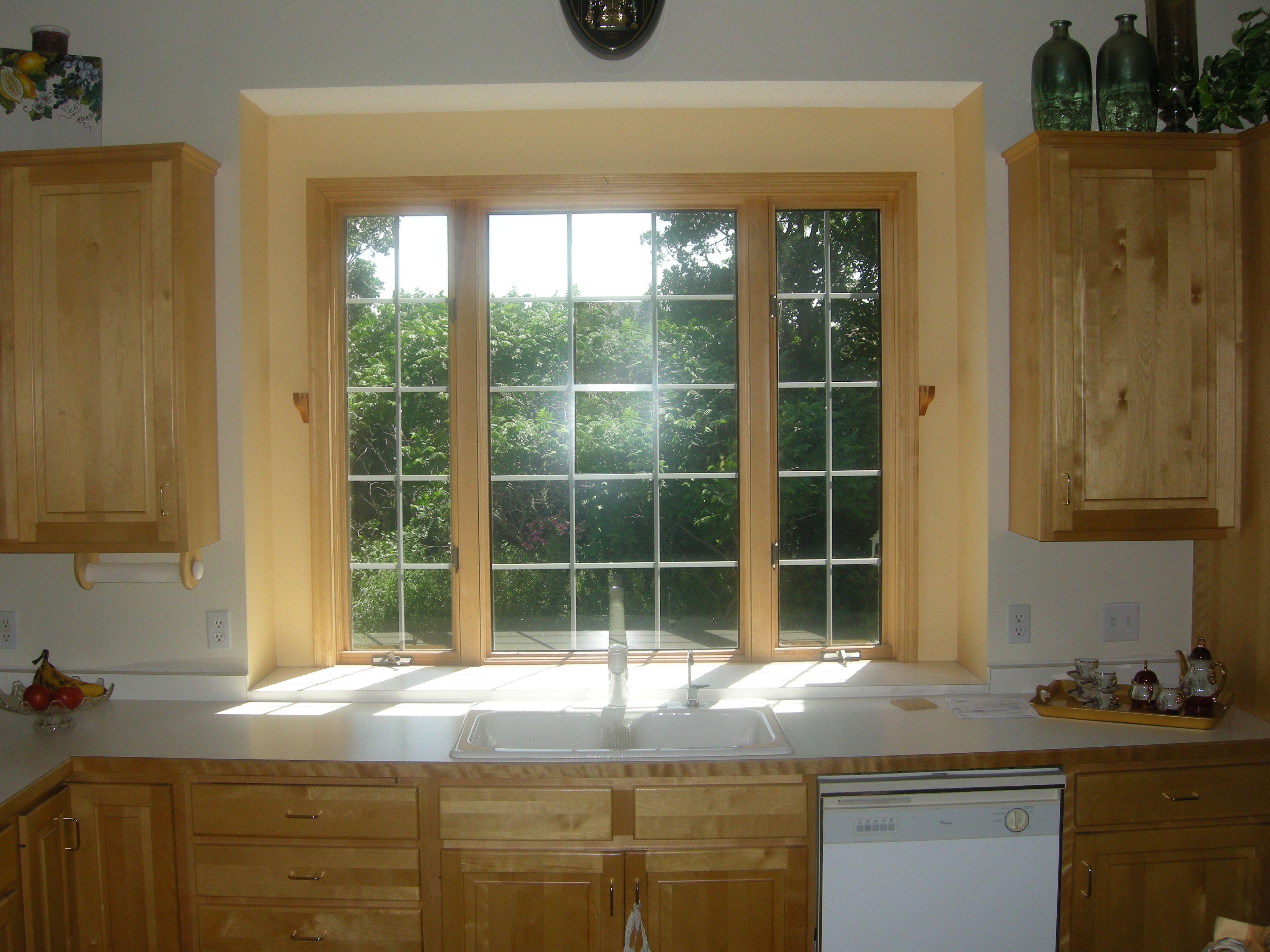 kitchen window ideas treatments play for toddler inspiration smart oak wooden trim as treatment