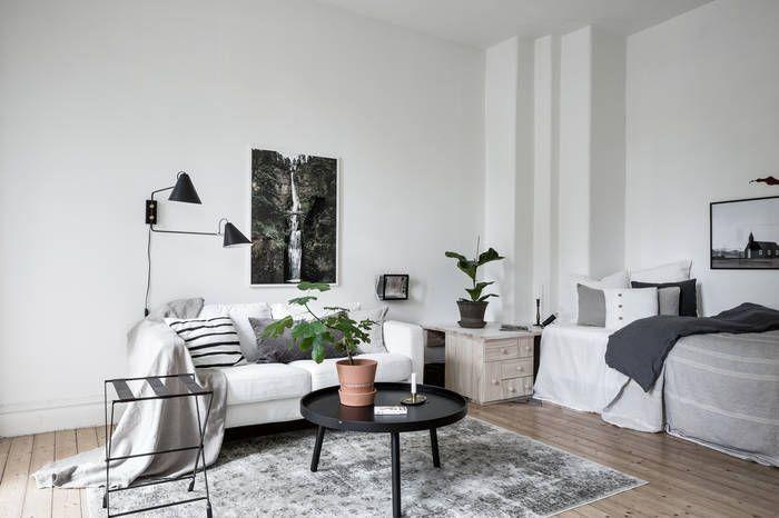 Neutral grey studio apartment housing