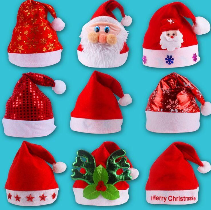 495d2423e20d6 Bright Christmas Hat Adult Child Cute Santa Claus Caps Xmas Holiday Party  Decoratives Supplies Candy Colors  gifts  bracelets  blackfriday  bracelet  ...