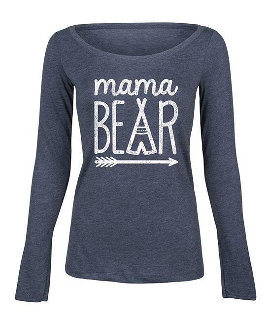 Heather Blue 'Mama Bear' Long-Sleeve Tee - Women